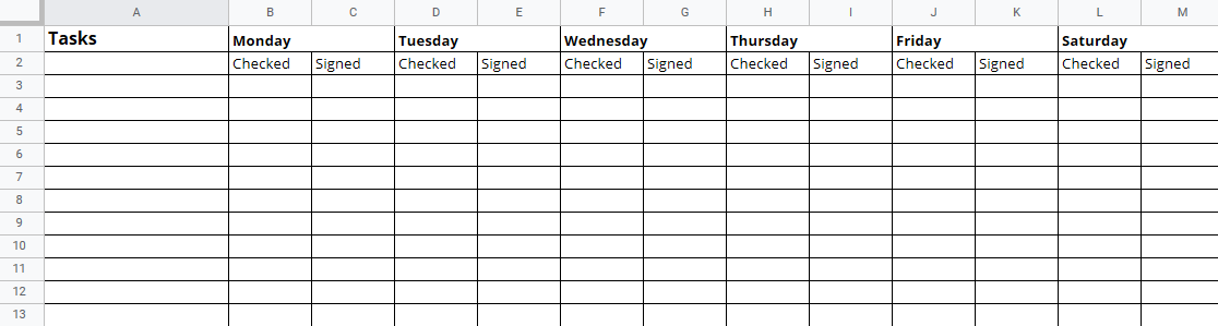 Checklist with two columns per day